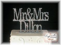 Mr & Mrs Name Monogram Crystal Wedding Cake Topper