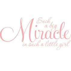 @Overstock.com - Baby Girl Nursey Room 'Such a big miracle...' Vinyl Wall Decal - Baby girls are precious, as is the phrase on this vinyl wall art decal: 'Such a big miracle in such a little girl,' written in script in your choice of nine colors with a clear background. These decals are easily applied to almost any smooth surface.  http://www.overstock.com/Home-Garden/Baby-Girl-Nursey-Room-Such-a-big-miracle...-Vinyl-Wall-Decal/6710906/product.html?CID=214117 $33.49