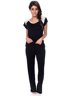 7b4455e5 Kathy Ireland Womens 2 Pc Short Sleeve PJ Sleepwear Set Medium Black w Lace  Trim *