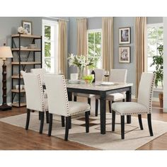 For the ultimate in versatility, consider the Picket House Furnishings Bradley 7 Piece Dining Table Set with Upholstered Chairs . This set includes. Black Dining Room Furniture, Bedroom Furniture, Contemporary Dining Room Sets, 7 Piece Dining Set, Upholstered Dining Chairs, Upholstered Furniture, Side Chairs, A Table, Dining Tables