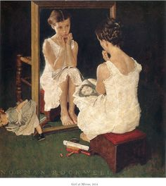 Norman Rockwell Girl at Mirror painting for sale - Norman Rockwell Girl at Mirror is handmade art reproduction; You can shop Norman Rockwell Girl at Mirror painting on canvas or frame. Peintures Norman Rockwell, Norman Rockwell Art, Norman Rockwell Paintings, Girl At Mirror, Look In The Mirror, Mirror Mirror, Mirrors, Mirror Image, Mirror Canvas