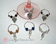 Wine Glass Charms  Grapes and Goblets by CardsAndMoreBySheri, $16.99