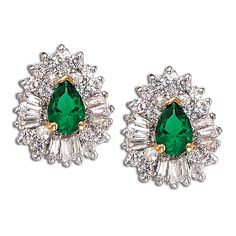 Simulated Emerald and CZ Empress Earrings