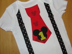 Mickey Mouse 1st Birthday Tie and Suspenders Onesie for Baby Boy -Disney Clothing-Disney Vacation Birthday Party Little Man Tie Outfit. $19.95, via Etsy. by Divonsir Borges