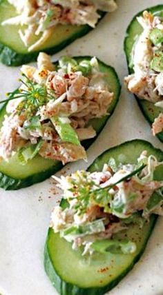 Crab and Cucumber Canapés Crab and Cucumber Canapés ❊ Cucumber Appetizers, Canapes Recipes, Appetizers For A Crowd, Seafood Appetizers, Cucumber Recipes, Appetizer Recipes, Canapes Ideas, Party Food Platters, Canape Food
