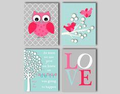 Baby Girl Nusery Art - Owl Nursery Prints - Baby Bird Nursery - Winnie the Pooh Adventure Quote - by inkspotsgallery, $45.00