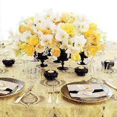 Sofisticada e elegante, a decoração em amarelo e preto confere um toque de glamour ao seu casamento. Confira as lindas imagens que separamos para você!