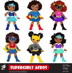 Girls Superhero clip art Supergirl clipart African american