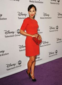 """kerry-washington-michael-kors-boucle-crepe-shift-dress-nicholas-kirkwood-suede-platform-pumps""    I just want to roll around in her closet!!"