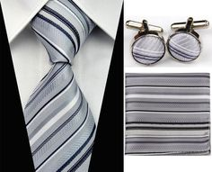 Grey  White  & Black Striped  Men s Tie Cufflinks Hanky Handkerchief Set