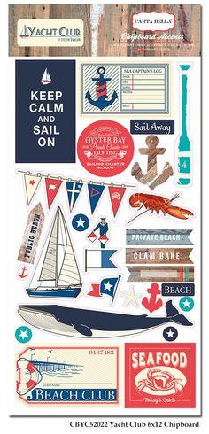 Carta Bella - Yacht Club Chipboard Accents (Nautical, Sailing)