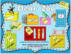 "Dear Zoo by Rod Campbell Story Telling Visuals, sequencing strips and center mats - This FREE resource compliments the ""Dear Zoo"" book by Rod Campbell. It offers story telling sequencing strips, large bulletin board visuals and center work mats. Dear Zoo Activities, Sequencing Activities, Language Activities, Book Activities, Zoo Animal Activities, Dear Zoo Book, Zoo Preschool, Kindergarten Themes, Story Sequencing"