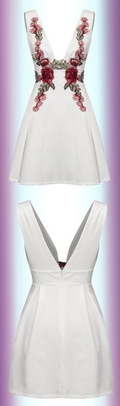 White Deep V-neck Embroidered Detail Open Back Dress. | $19.99 Floral embroidered design.