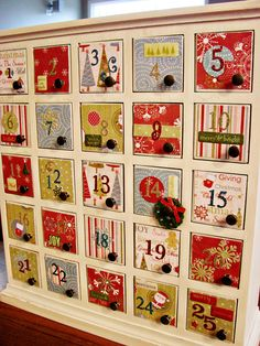 Great idea for advent calendar...using a $29.00 base from Target with small drawers that you and the kids decorate.  Put a little something in each drawer that your child gets to put on the tree each night as you countdown the season.  Great idea!