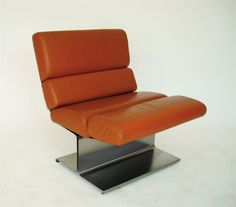 Paul Geoffrey; Stainless Steel and LeatherLounge Chair for Uginox, c1970.