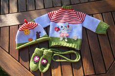 Sets - 3 tlgs. Erstlingsset ♥ Mausi im Garten ♥ - ein Designerstück von -Wimmelkinder- bei DaWanda