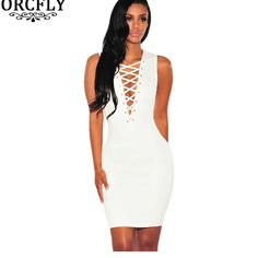 Find More Dresses Information about Orcfly Summer Slim Bodycon Dresses Blue White Lace Up Sexy V Neck Sleeveless Mini Dress Vestidos Verano 2016 22703,High Quality dress vest,China dress fall Suppliers, Cheap dress grey from Modern Ladies Boutique on Aliexpress.com