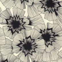 Black and White Persephone Quilting Fabric - Black