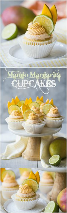 Mango Margarita Cupcakes: the flavors in this cupcake were off the charts! Just like sipping on my favorite cocktail, with lots of sweet mango, fresh lime, and a kick of tequila. food desserts cupcakes via @bakingamoment