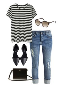 Looking for spring outfit inspiration? A striped tee, d'orsay flats, jeans, and a pair of Rodenstock sunglasses come together to make a cute and casual look.