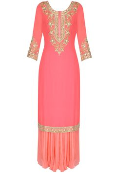 Candy pink mirror embroidered kurta and sharara set available only at Pernia's Pop Up Shop. Pakistani Dresses, Indian Dresses, Indian Outfits, Ethnic Outfits, Salwar Kameez, Sharara, Latest Designer Sarees, Designer Dresses, Indian Attire
