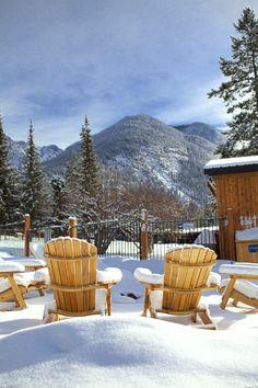 Patio chairs in the snow #FairmontHotSpringsResort #winter #patio #destinationbc #travelbc #resort #hotsprings