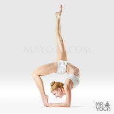 Tip Toe Bound Foot One Legged Inverted Staff Pose/Prapada Baddha Pada Eka Pada Viparita Dandasana/(pra-pah-DAH BAH-dah pah-DAH aa-KAH pah-DAH VEE-puh-reetuh don-DAHS-anna)/Variation: forearms to the floor, head off the floor/Pose Type: backbend, inversion/Drishti Point: Bhrumadhye or Ajna Chakra (third eye, between the eyebrows)/prapada = tip of the feet, baddha = bound. pada = foot or leg, eka = one, pada = foot or leg, viparita = inverted danda = stick or staff