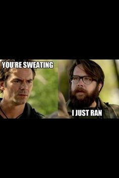 You're sweating -Miles  I just ran- Aaron (scene with the lost children and the kid who took the pendent)