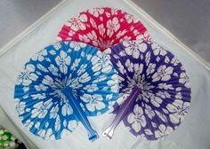 12 Hibiscus Folding Fans ~Luau Beach Tropical Flower Party Favors~