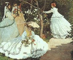 "Painting by Claude Monet, 1866-7, ""Women in a Garden,"" In Monet's painting, ""Women in a Garden"" Camille Doncieux Monet (1847-1879) posed for all four female figures."