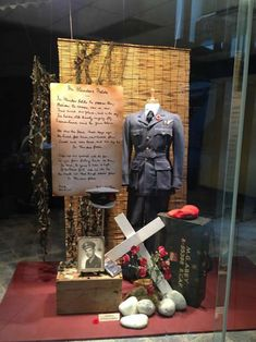 Remembrance Day Display Gallery for Option Designs Window Display Design, Store Window Displays, Museum Displays, School Displays, Library Displays, Ww1 Display, Charity Shop Display Ideas, Remembrance Day Art, Church Stage Design