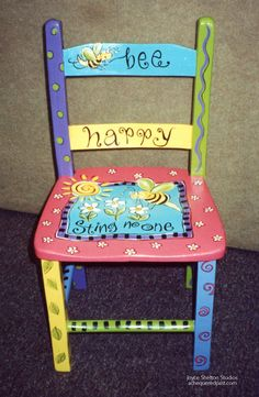 Floor Protectors For Chairs Key: 8743534921 Painted Kids Chairs, Painted Rocking Chairs, Whimsical Painted Furniture, Painted Stools, Hand Painted Furniture, Recycled Furniture, Old Wooden Chairs, Old Chairs, Vintage Chairs