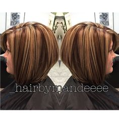 Dimensional Red/brown &Blonde Bob For Holly ❤️ #redken #hairbymandeeee #cilantrohairspa
