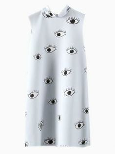 Eyes Print Sleeveless Dress by: Choies