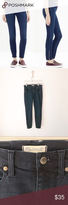 "Madewell Skinny Ankle Zip Jeans Edgewater 26 Madewell Skinny Skinny Zip Jeans Edgewater Wash Size 26 Fitted through hip and thigh, with a slim leg.  Zipper at ankle. These have stretch. Dark wash. Approximate measurements: 13"" waist; 16"" hips; 27"" inseam; 8"" rise. 93% cotton/6% poly/1% spandex. Excellent pre-owned condition with normal signs of wear and wash. Please see photos for details. Madewell Jeans Skinny"