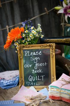 A beautiful, sentimental alternative to a guest book! Have guests sign fabric squares, then have them made into a quilt to treasure as a family keepsake. Guest book quilt with gold frame wedding sign. Creative Wedding Favors, Diy Wedding Gifts, Wedding Gifts For Guests, Wedding Party Favors, Wedding Cards, Wedding Book, Dream Wedding, Wedding Decorations, Sentimental Wedding Ideas