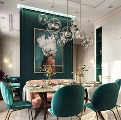 Popular cozy rustic dining room decor and design ideas 25 Velvet Dining Chairs, Green Interiors, Dining Room Spaces, Chic Dining Room, Art Deco Living Room, Mid Century Modern Living Room, Rustic Dining Room, Modern Dining Room, Green Dining Room