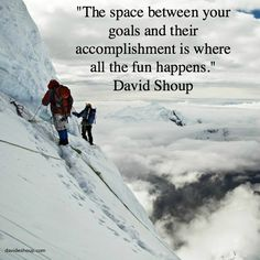 """""""The space between your goals and their accomplishment is where all the fun happens."""" David Shoup #inspiration #davidshoup #quotes #thespacebetween"""