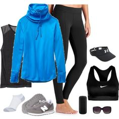 Get Walking! by fiftynotfrumpy on Polyvore featuring Athleta, NIKE, New Balance Classics, Under Armour, Merona, Samsung and plus size clothing
