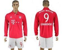 Bayern Munchen #9 Lewandowski Home Long Sleeves Soccer Club Jersey