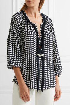 dad2d6a539005 Figue - Tula fringe-trimmed polka-dot silk blouse