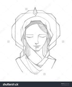 Hand Drawn Vector Illustration Or Drawing Of Virgin Mary At Pentecost Biblical Passage - 281361269 : Shutterstock