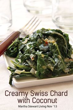 25 Guilt-less Stress-less #Thanksgiving Sides - Creamy Swiss Chard with Coconut