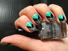 Aqua, black and silver chevron #nails