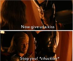From deleted scene of Thor. Hiddlesworth triumphs yet again