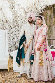 @shikachand Sikh Wedding Decor, Sikh Wedding Dress, Punjabi Wedding Couple, Couple Wedding Dress, Wedding Sherwani, Indian Wedding Outfits, Bridal Outfits, Wedding Suits, Wedding Couples