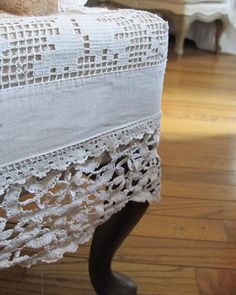 Cover upholstered furniture footstools, chair, sofa, loveseat, pieces with vintage crochet and lace.  Recycle, upcycle, RePurpose, Salvage!  For ideas and goods shop at Estate ReSale & ReDesign, Bonita Springs, FL