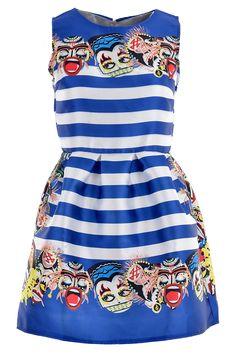 Sweet Blue White Striped Dress - OASAP.com