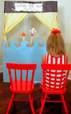 """Cardboard """"Under the Sea Puppet Theater"""".  Great free kids craft for the summer!"""