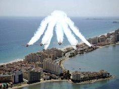 Nuestra *Patrulla Águila* sobrevolando el Mar Menor y La Manga. ¡¡Impresionante!! CARTAGENA. Spain.